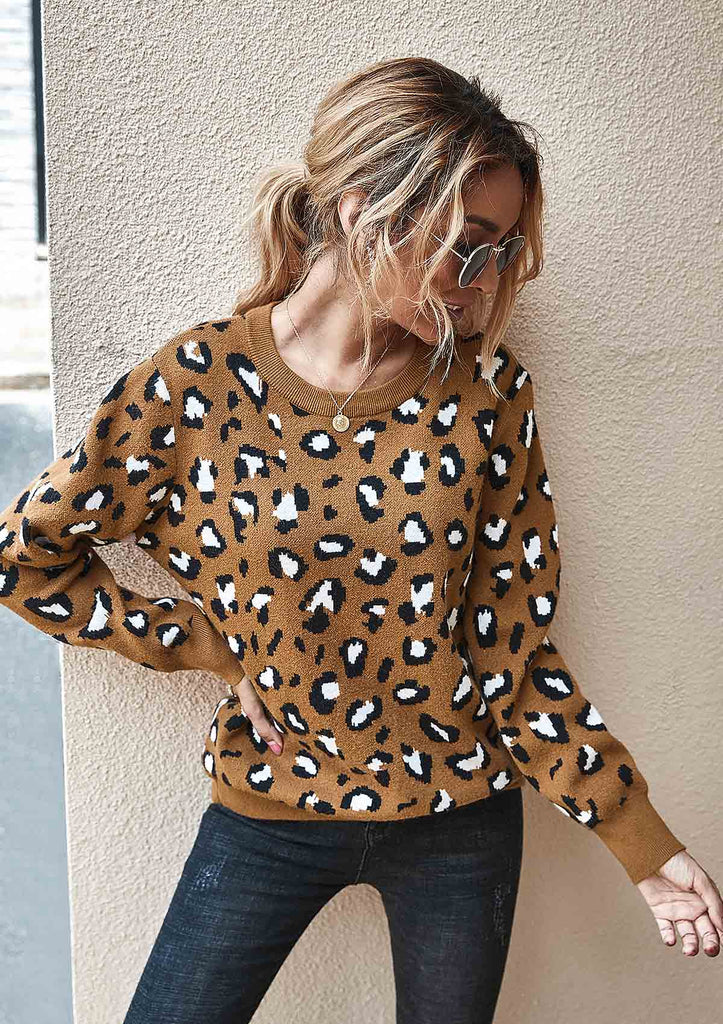 Leopard Print Crew Neck Pullover Knit Sweater