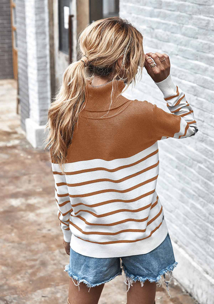 High Collar Striped Knit Pullover Sweater