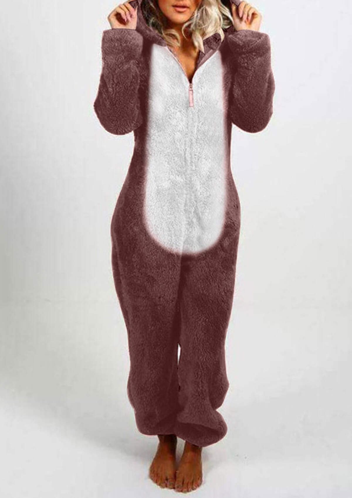 Cute Bear Hooded Jumpsuit Pajamas