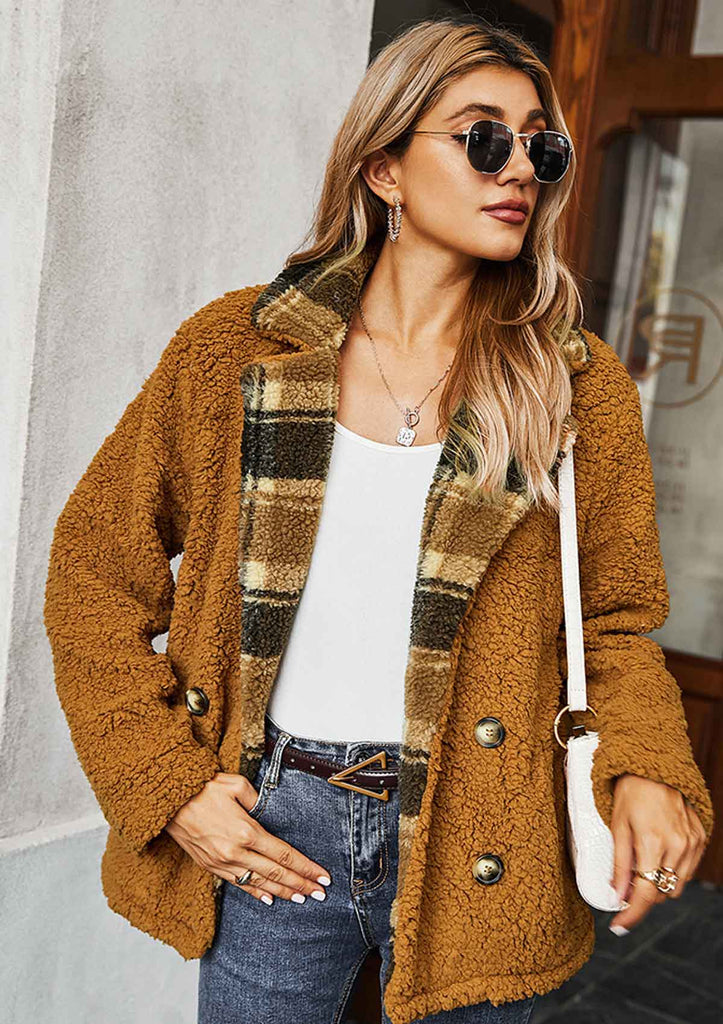 Checked Lapel Thick Coat