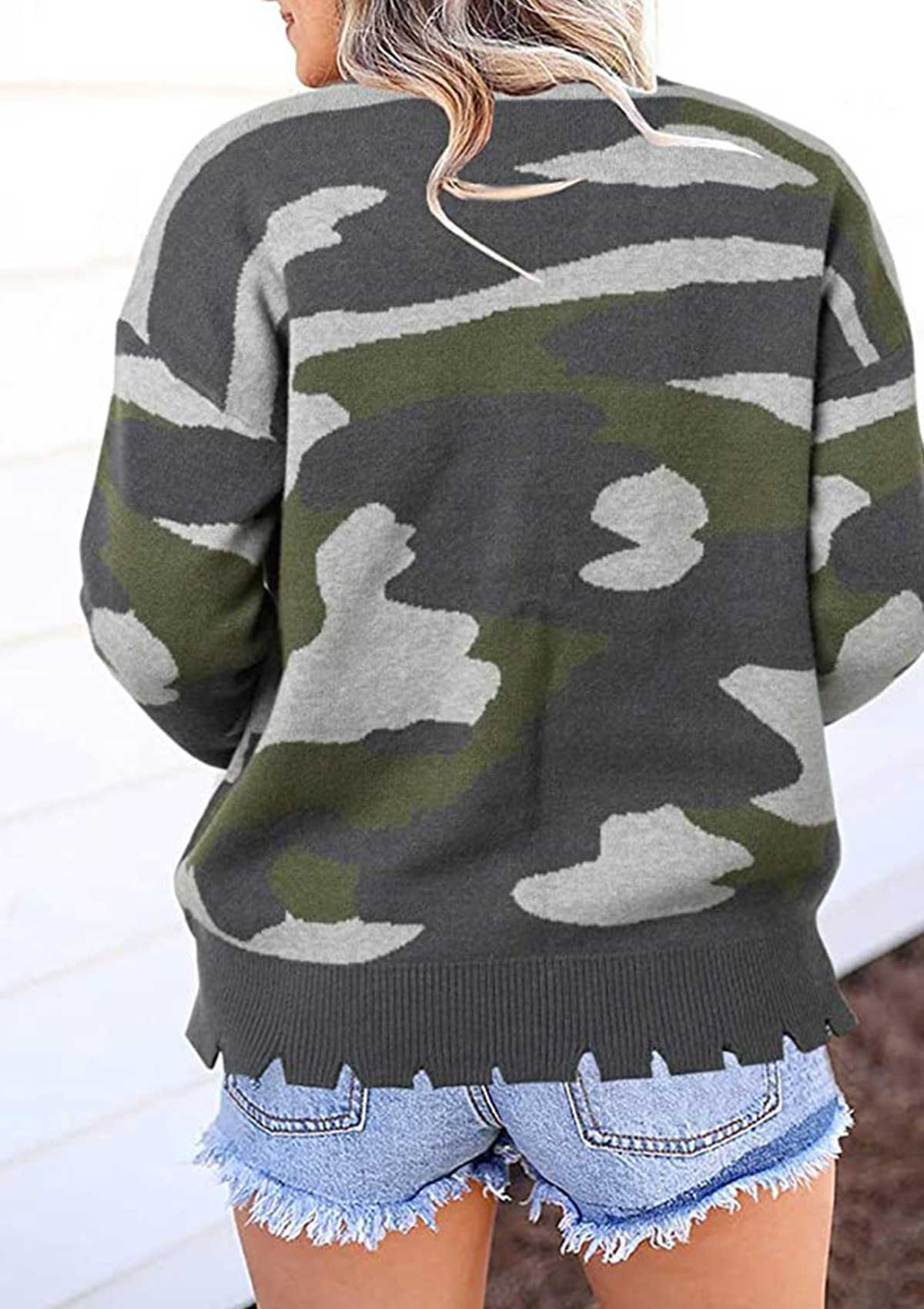 Crewneck Pullover Camo Knitted Sweater
