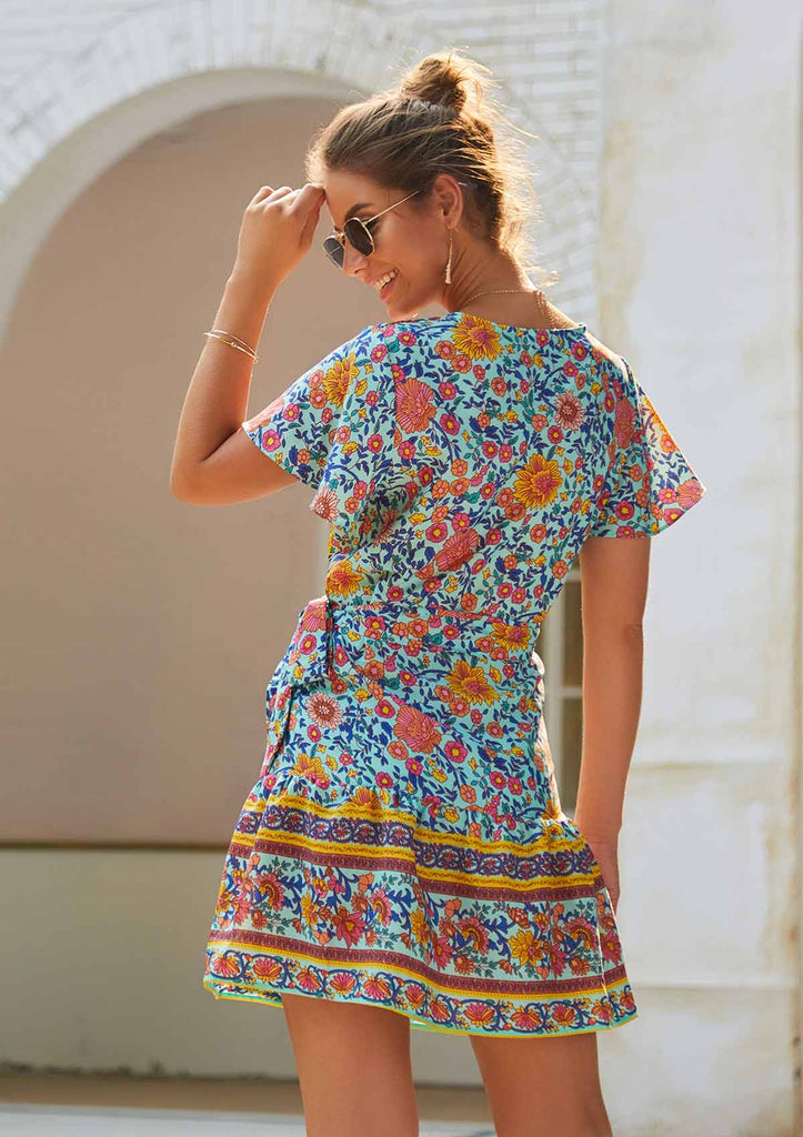 V-Neck Small Floral Print Short Dress