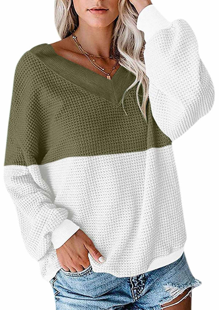 Color Block Waffle Knit Off Shoulder Sweaters