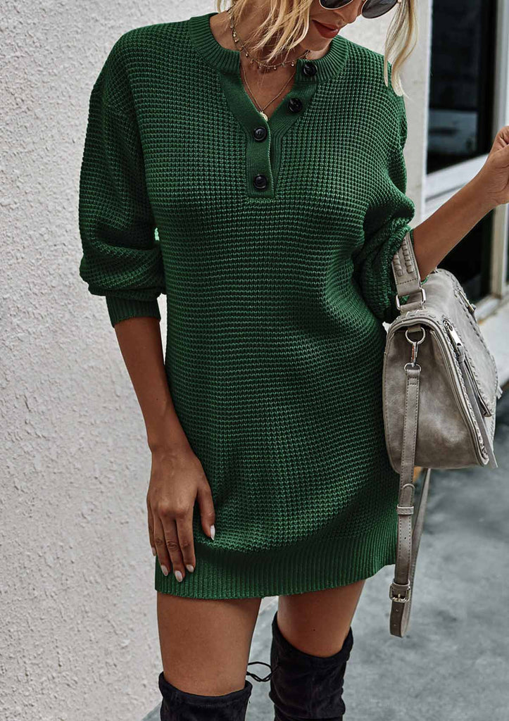 Buttons Knitted Sweater Dress