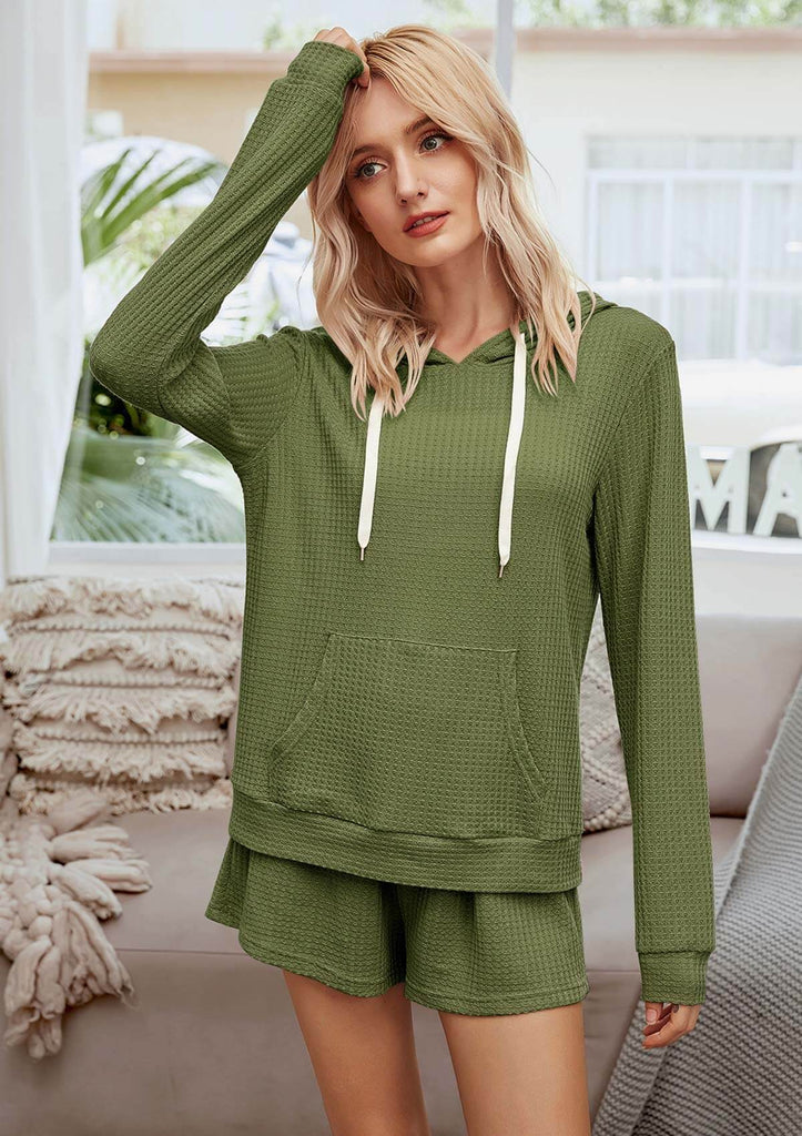 Solid Color Two Piece Pajama Set With Hood