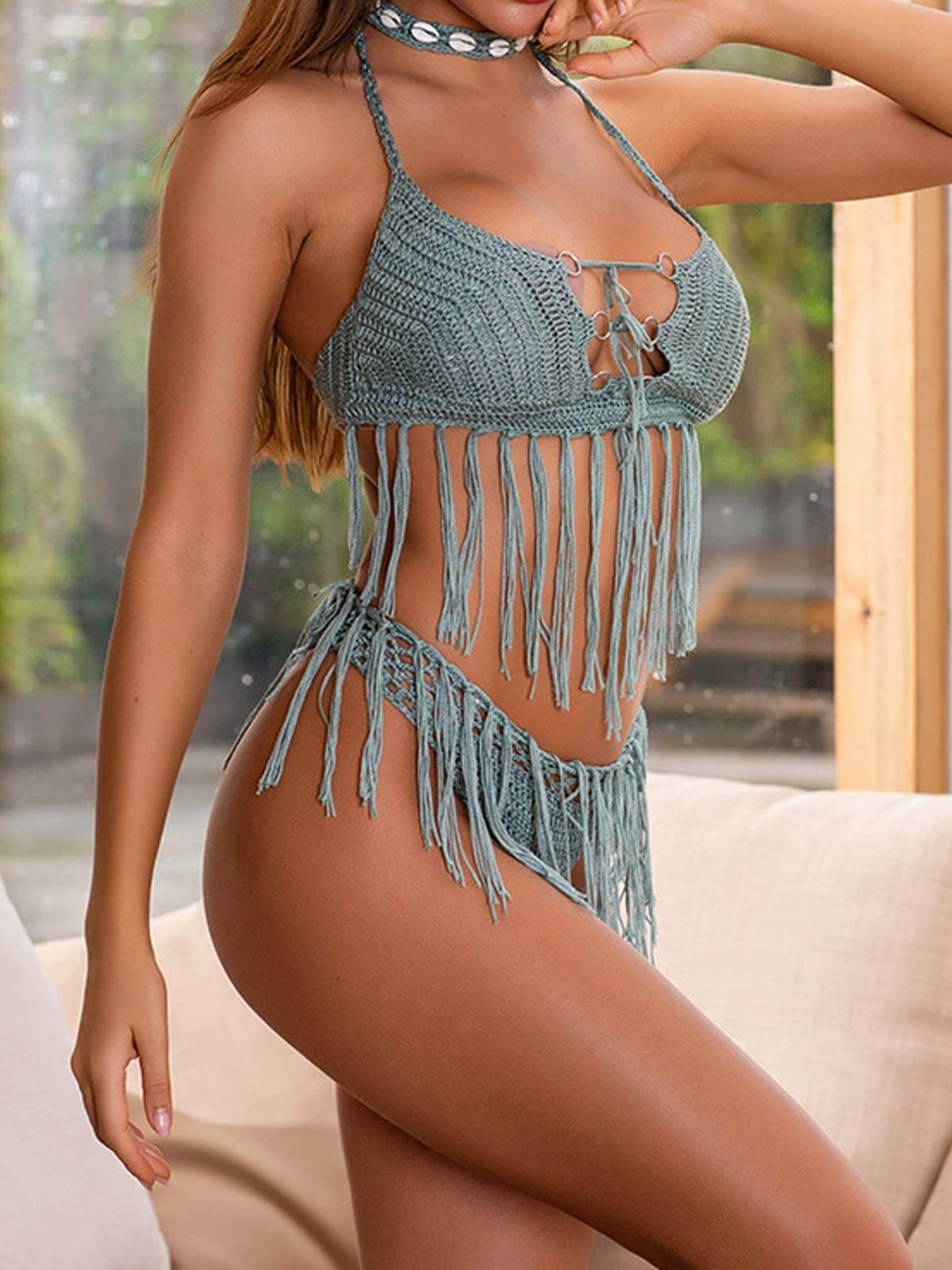 Crochet Tassel Split Swimsuit
