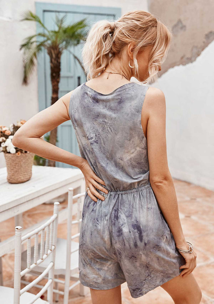 Tie-Dye Square Neck Sleeveless Jumpsuit Set