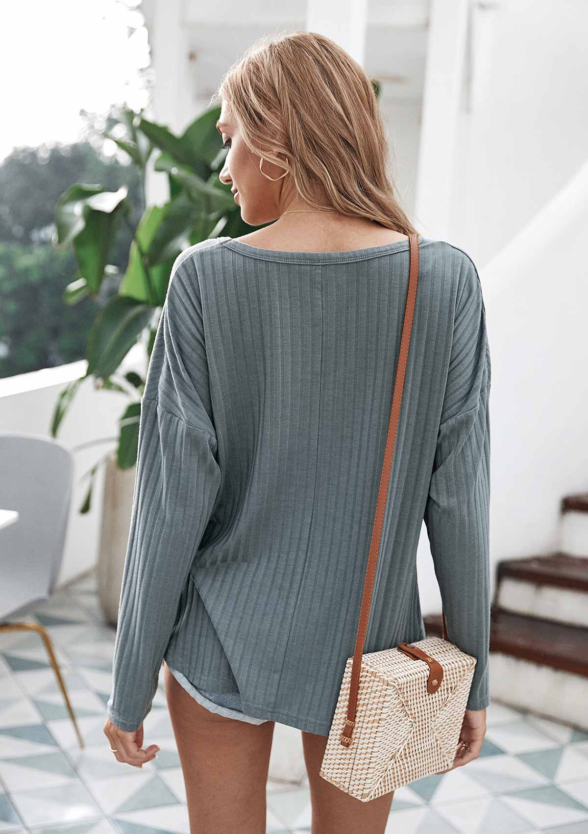 Irregular Knot Solid Color Pullover Sweater