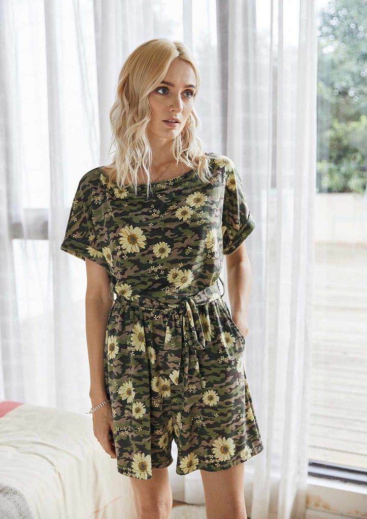 Camouflage Pockets Jumpsuit Romper