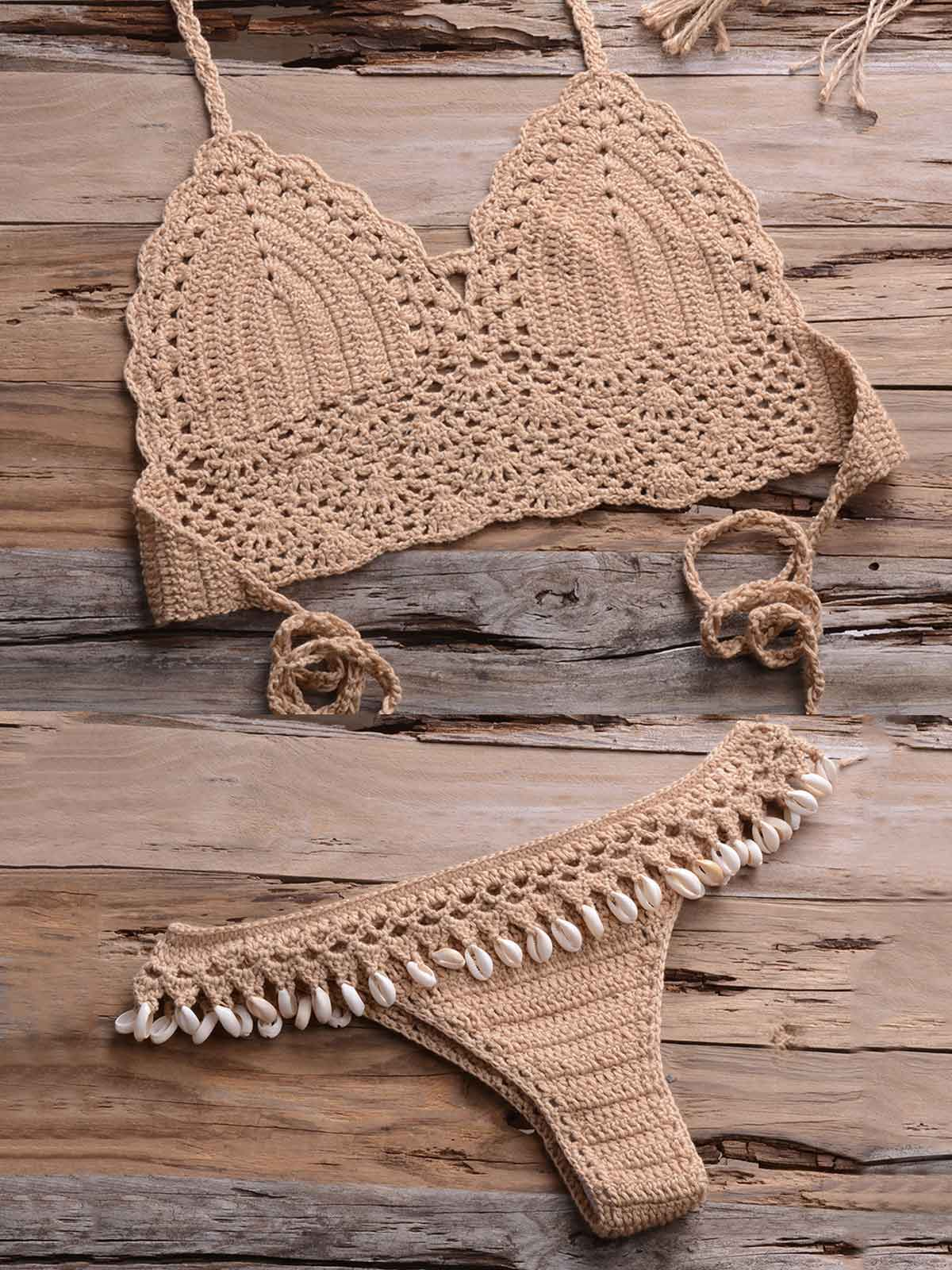 Crochet Hollow Out Split Swimsuit