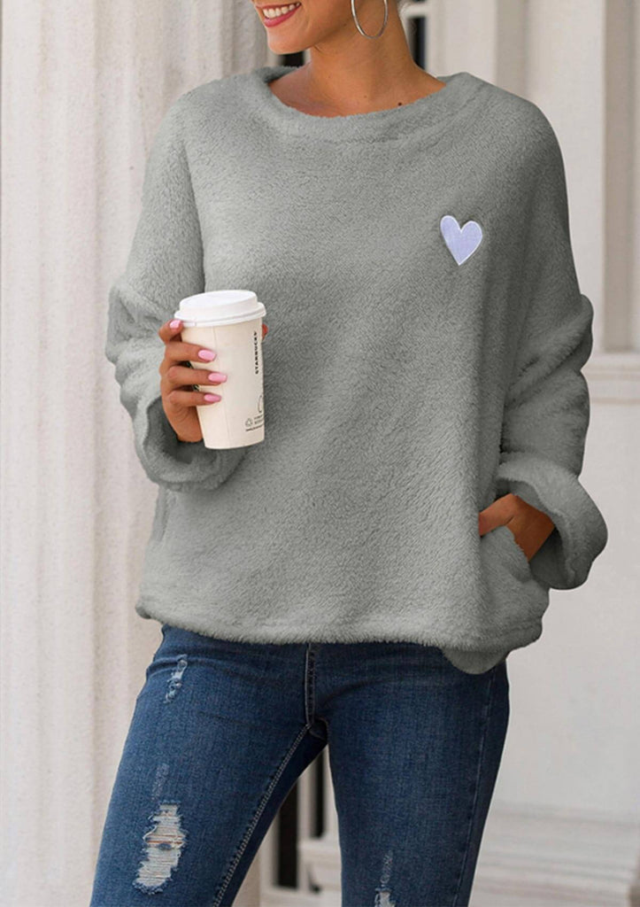 Heart Embroidery Plush Sweater