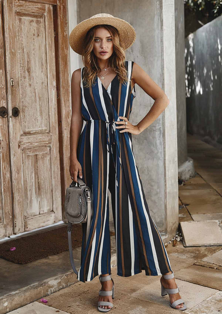 Sleeveless Wide Leg Long Jumpsuit With Belt