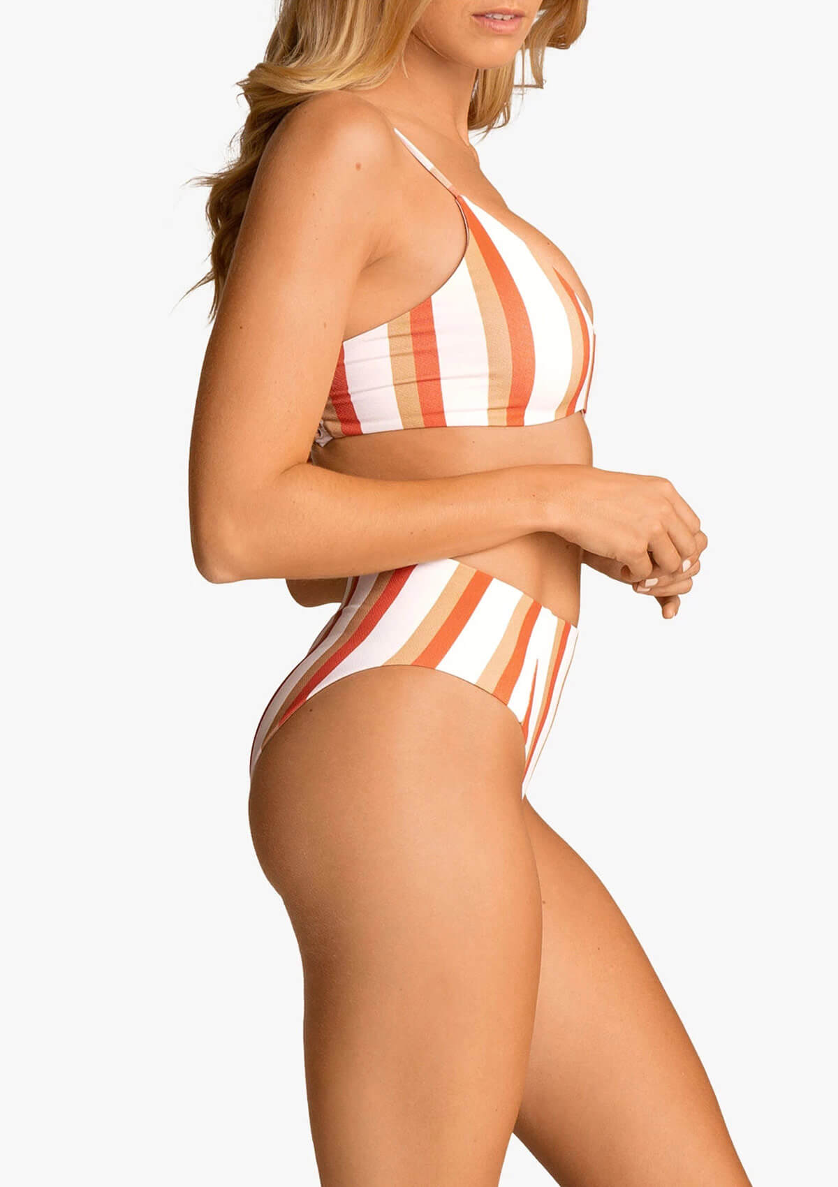Striped High Waist Back Strappy Bikini Set