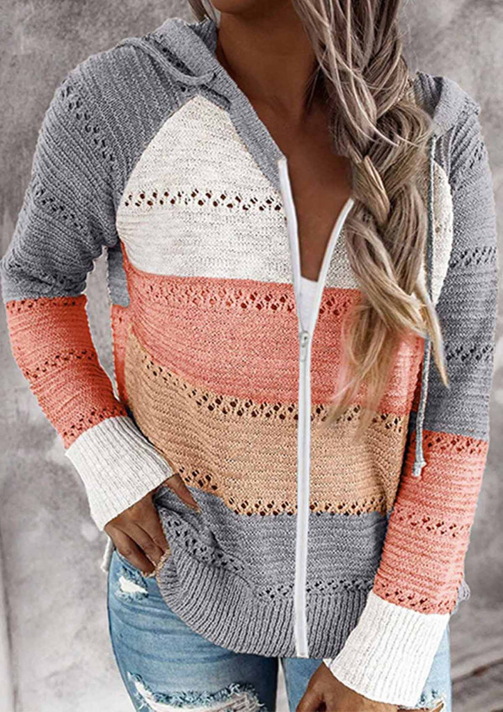 Contrast Color Knitted Zipper Lightweight Hoodie