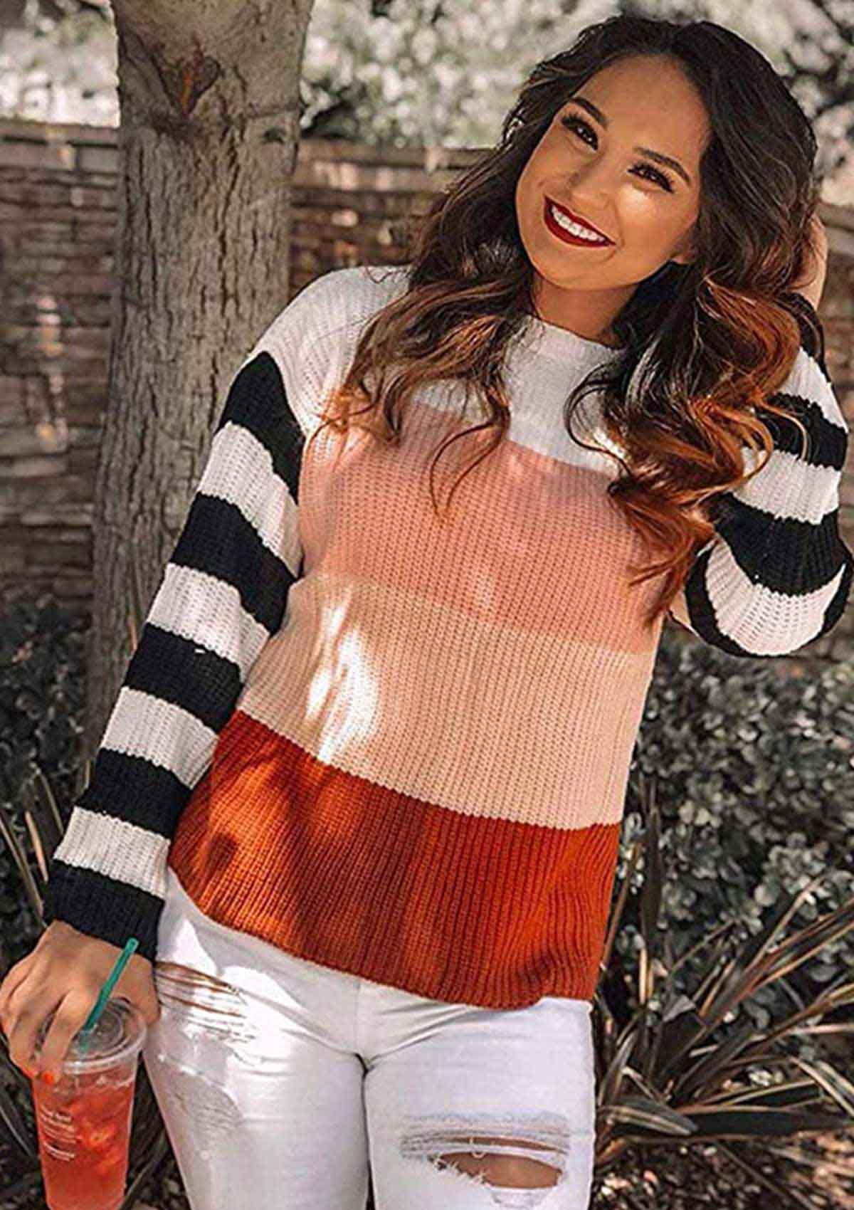 Color Block Striped Knitted Pullover Sweater