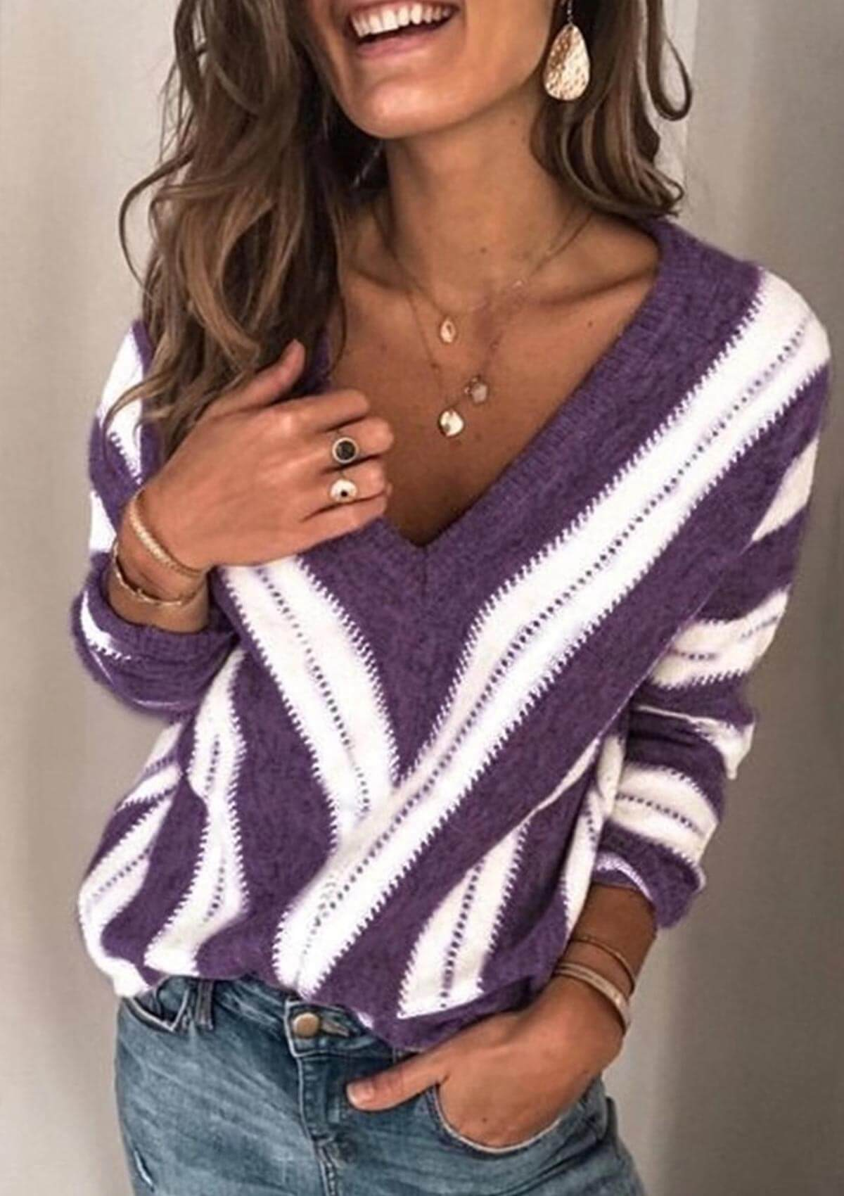 Color Block V Neck Knitted Sweater