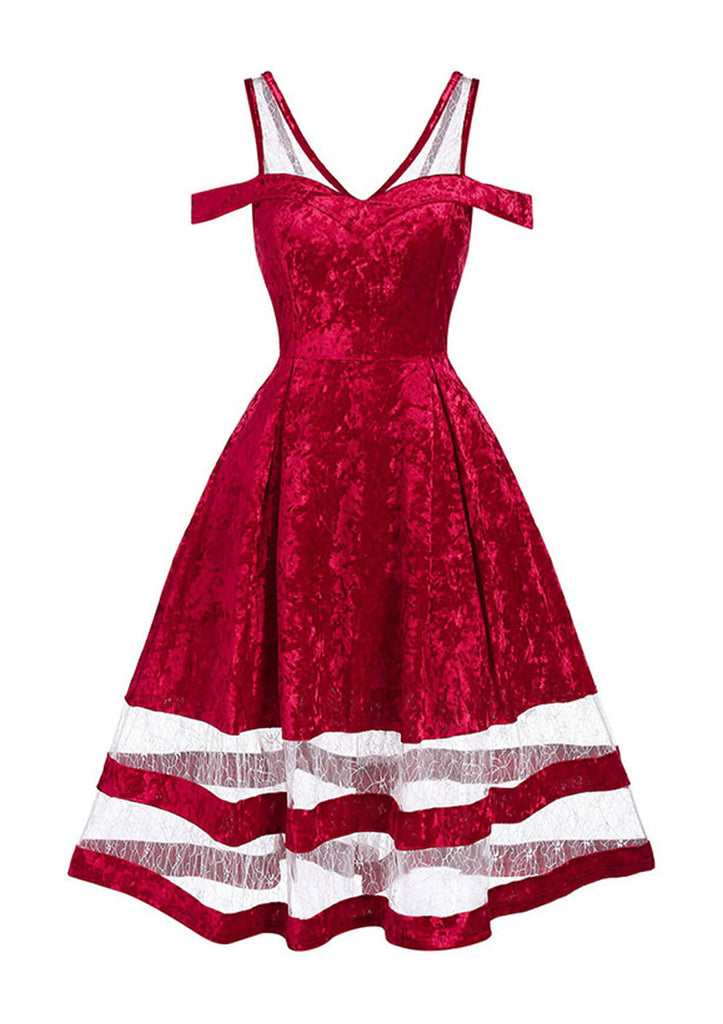 Christmas Lace Insert Flare Dress