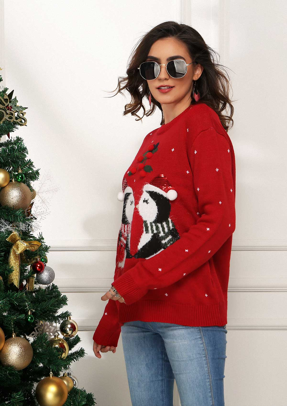Christmas Penguin Knit Sweater