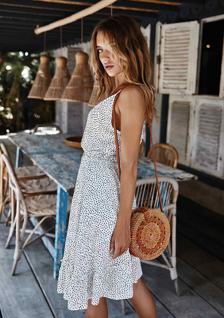 Polka Dot Sleeveless Dress with Belt