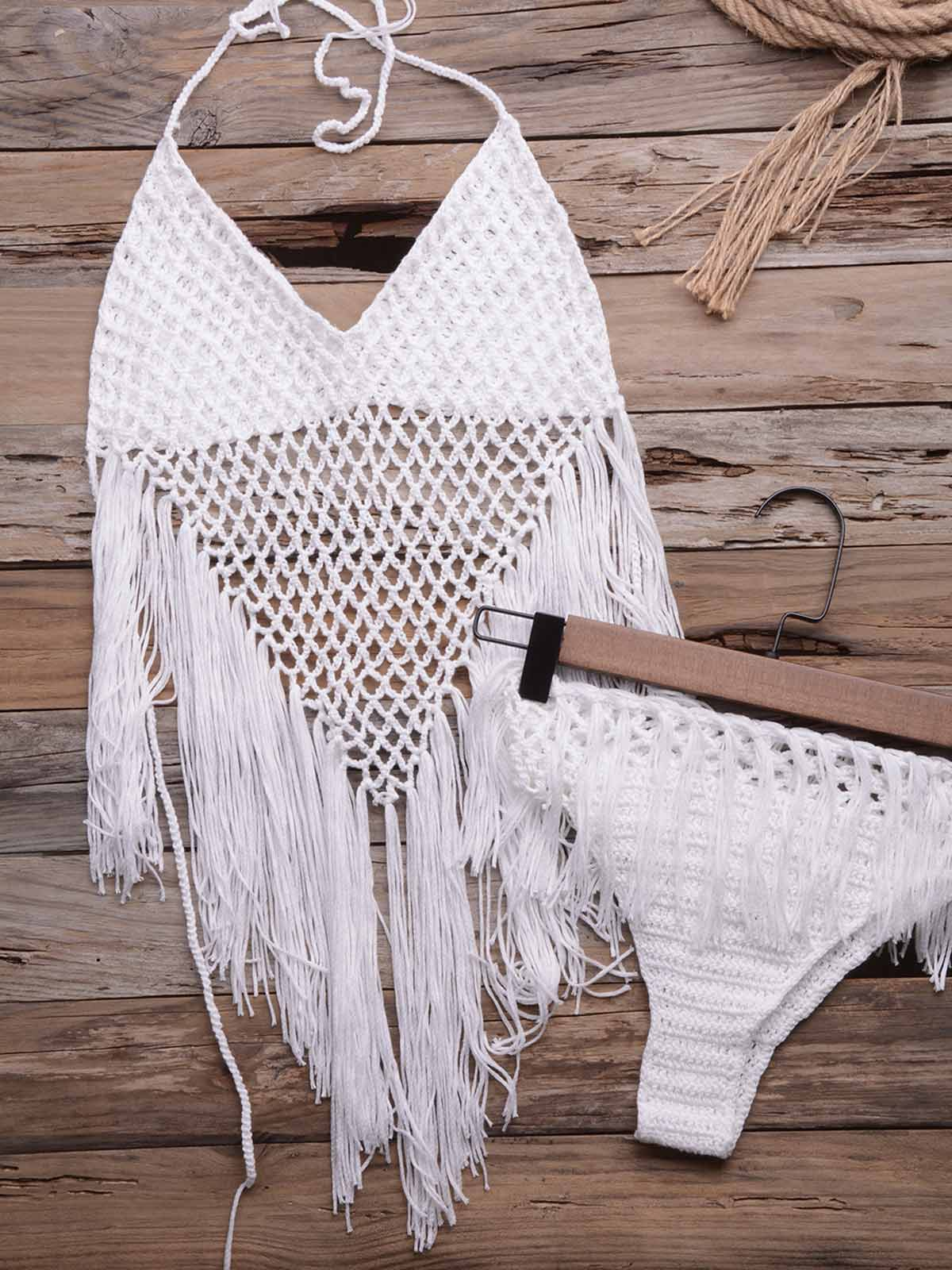 Crochet Hollow Tassel Split Swimsuit