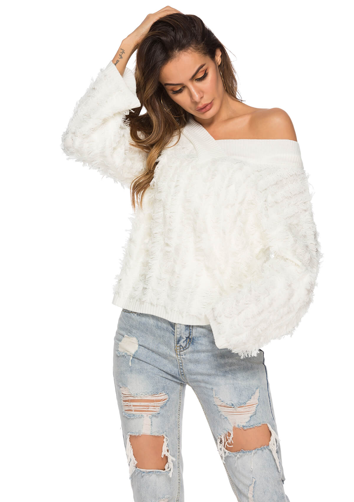 Sexy V-neck Tassel Knitted Sweater