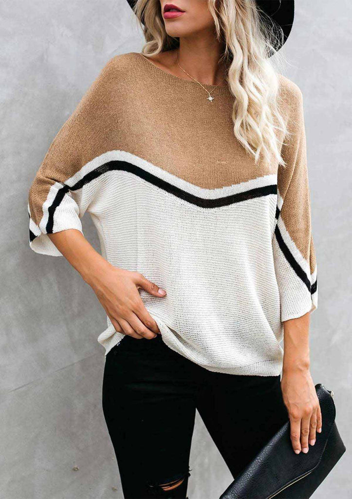 Color Block Bat Sleeve Pullover Sweater