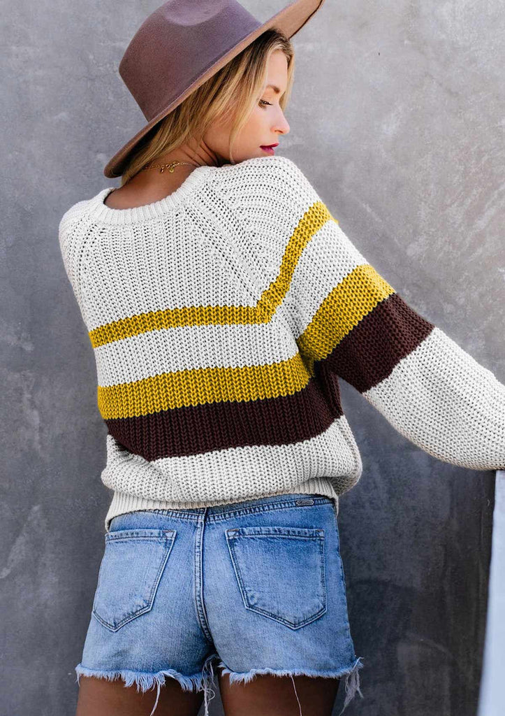 Stripe Color Block Knitted Sweater