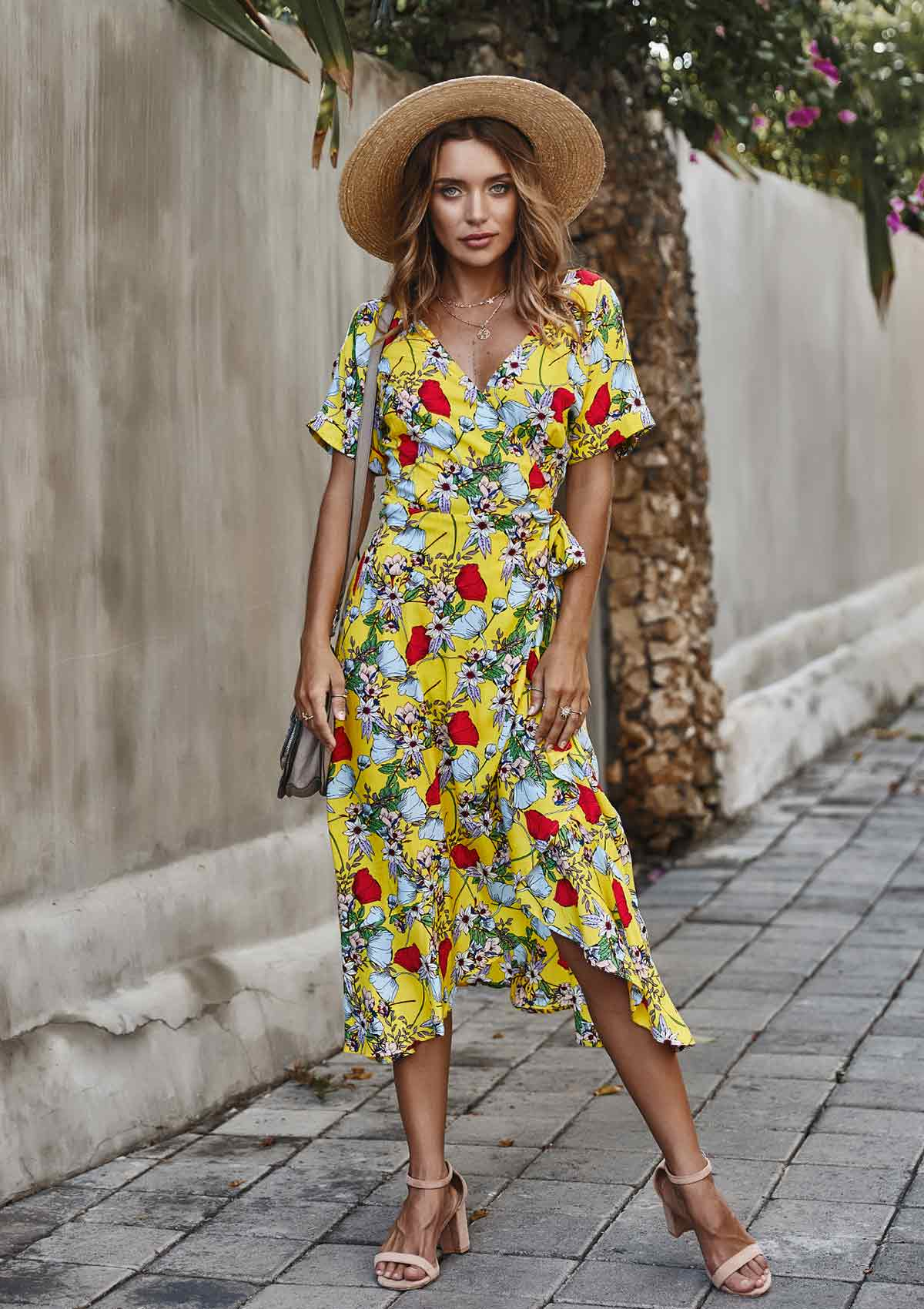 Bohemian Floral High Waist Swing Maxi Dress