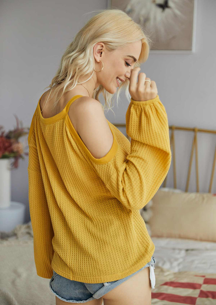 Solid Color Cold Shoulder Sweater