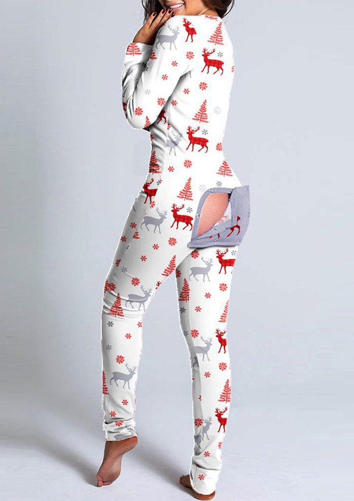 Xmas Functional Buttoned Flap Adults Pajamas