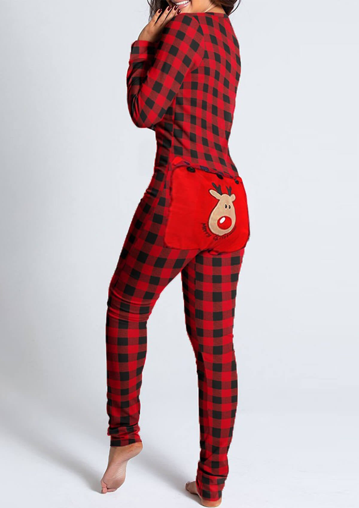 Functional Buttoned Flap Adults Pajamas