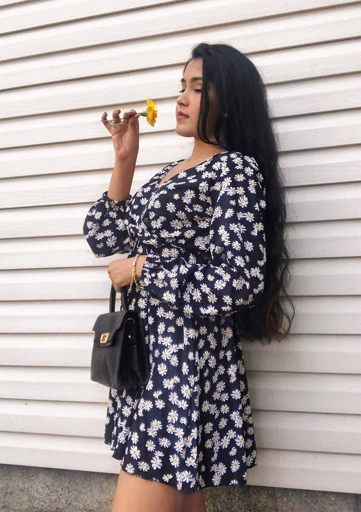 Flower Pattern Bubble Sleeve Dress