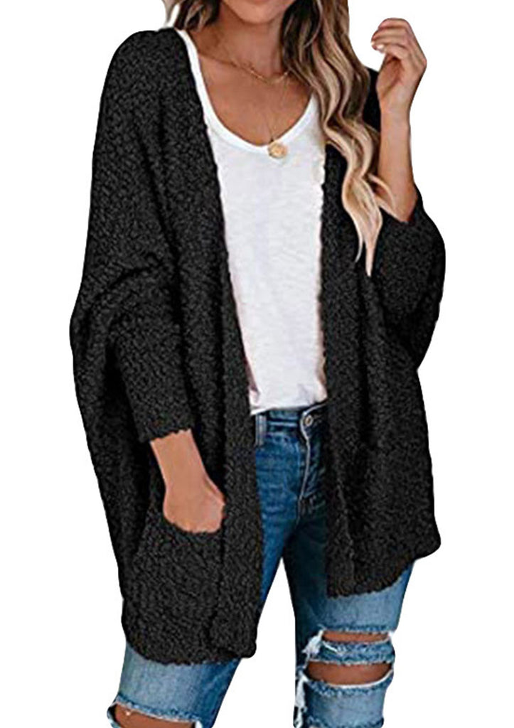 Batwing Sleeve Cardigan With Pockets