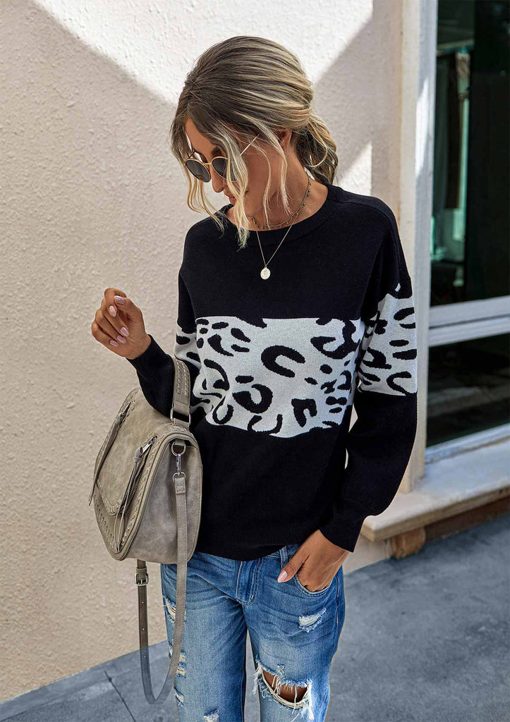 Leopard Patchwork Sweater
