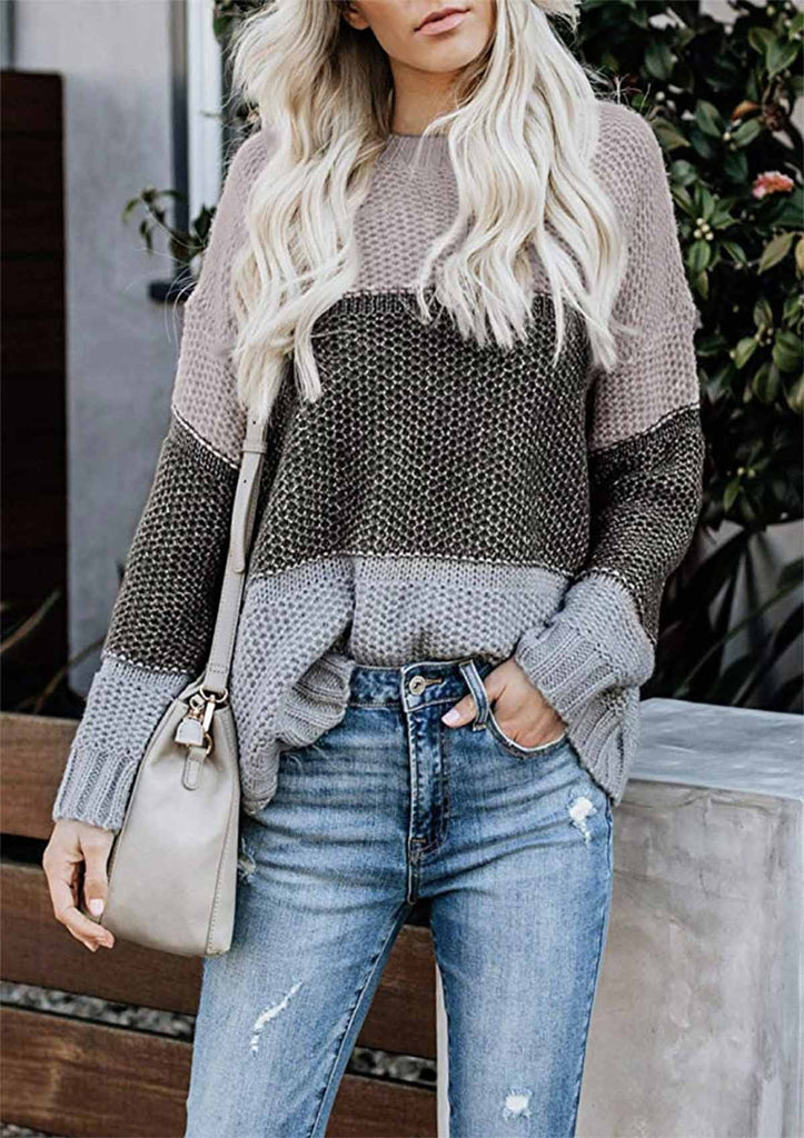 Color Block Striped Crewneck Knitted Sweaters