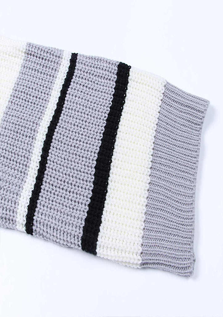 Color Block Stripe Knitted Sweater