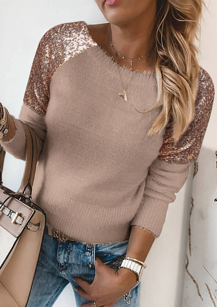 Sequins Fluffy Long Sleeve Sweater