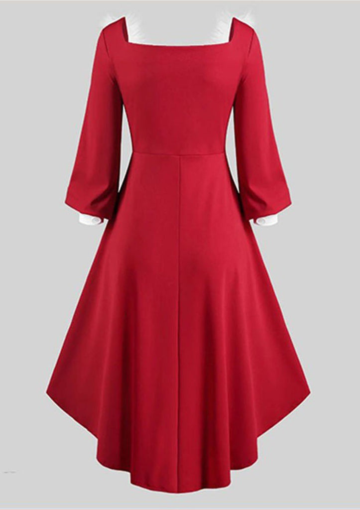 Christmas Irregular Hem Plush Stitching Dress