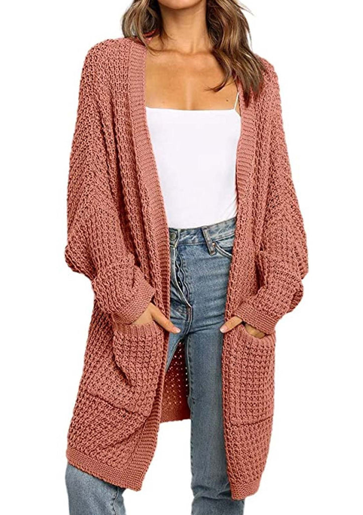 Batwing Sleeve Cardigan Sweater with Pockets