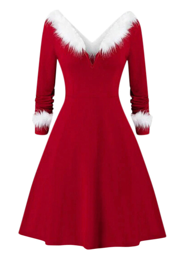 Christmas V-neck Plush Stitching Dress