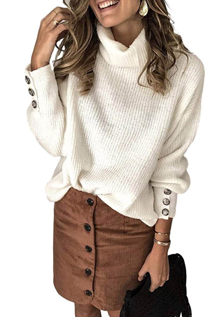 Turtleneck Chunky Pullover Sweater