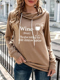 Wine Glass Letter Printed Drawstring Hoodie