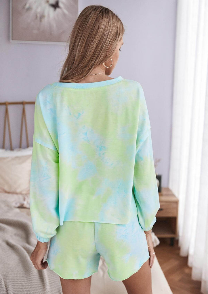 Tie Dye Long Sleeve Shirt Pajamas Set