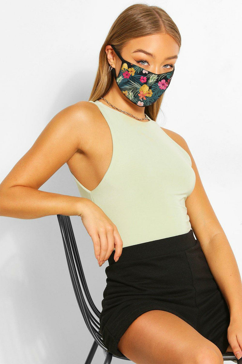 Floral - Triple Layer Face Mask