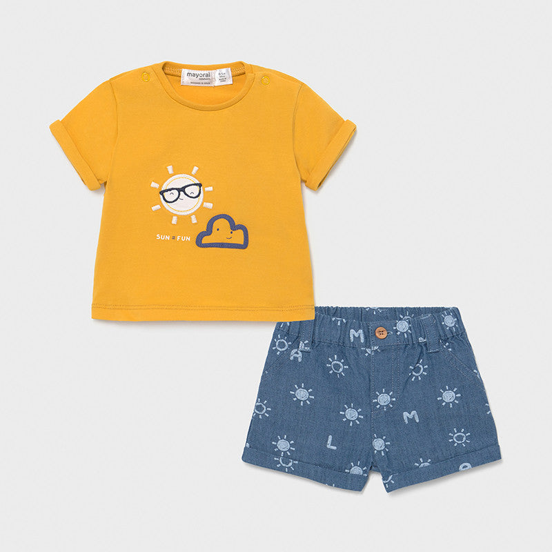 Baby boy shorts set by Mayoral.Baby boy's yellow tee shirt and blue shorts . Baby mayoral 1205.
