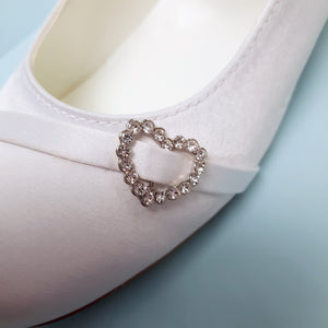 White Satin shoe with diamanté hearts by  Little People