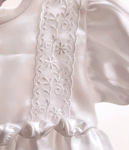 Christening Robe and Bonnet in White, by Visara
