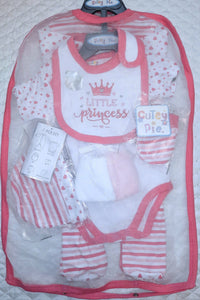 "Baby Girl's 7 piece Baby-gro set ""Little Princess"""