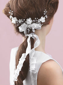 Holy Communion Hair Comb with Beads, Flowers and Ribbons, by Emmerling