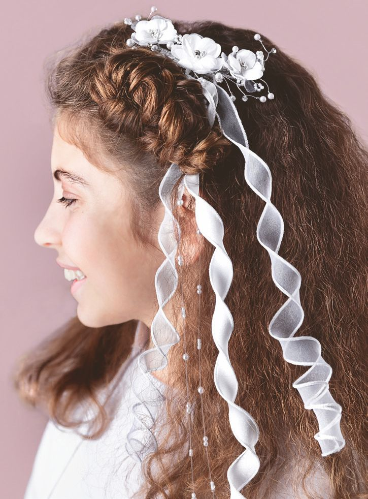 White Communion Hair Accessory with curly Ribbons , by Emmerling